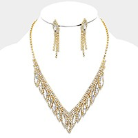 Marquise crystal rhinestone V-collar necklace
