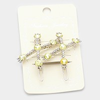 1 Pair - Crossed crystal hair barrettes