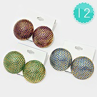 12 Pairs - Hammered metal dome stud earrings