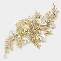 Crystal rhinestone floral vine hair comb stick