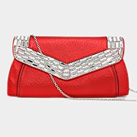 Rectangle crystal trim clutch bag with metal chain strap
