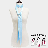 3 in 1 Solid color skinny tie scarf