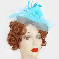 Flower feather mesh net fascinator / barrette clip