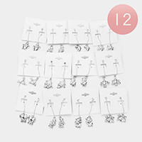 12 Pairs - Zodiac Sign Dangle Earrings