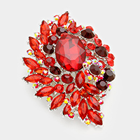 Oval Crystal Accented Flower Pin Brooch