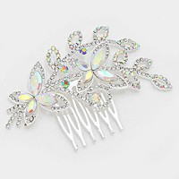 Floral crystal rhinestone hair comb stick
