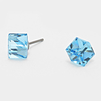 6mm Genuine Austrian crystal cube stud earrings