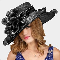 Large lace organza hat with stone