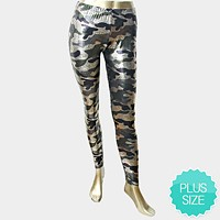 Metallic snake skin camouflage military print leggings