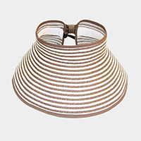 STRIPE ROLL UP FOLDABLE LARGE BRIM SUN VISOR HAT