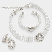 3-PCS TEARDROP PEARL NECKLACE JEWELRY SET