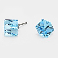 12mm Genuine Austrian crystal cube stud earrings