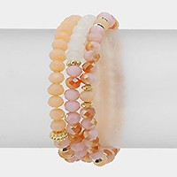 Faceted bead strand stack stretch bracelet