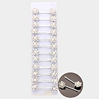 24 PCS - Crystal pearl flower bobby pins