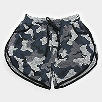 Camouflage military pattern drawstring jogger shorts
