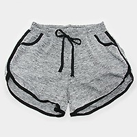 Black trim solid color drawstring jogger shorts