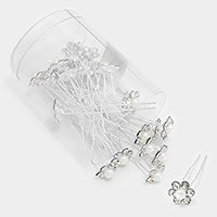 24 PCS - Mini crystal pearl flower hair comb sticks