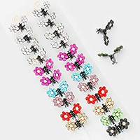 12 Pairs - Double crystal flower mini hair claw clips