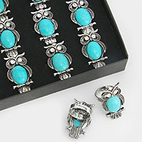 12 PCS - Turquoise owl rings