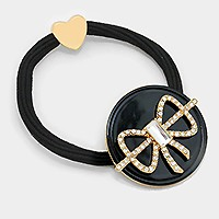 Crystal Bow Elastic Band Ponytail Holder