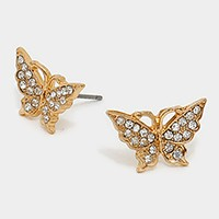 Crystal pave butterfly stud earrings