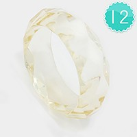 12 PCS - Faceted lucite bangle bracelets