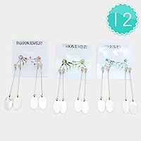 12 Pairs - Double oval metal disc drop crystal ear jacket earrings