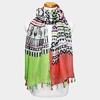 Aztec pattern scarf with tassels