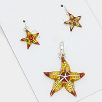 Colored metal starfish pendant set
