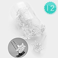 12 PCS- Mini crystal metal flower hair comb sticks