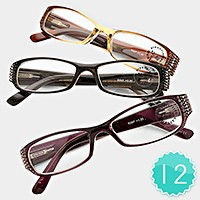 12 Pairs - Assorted Square Frame Reading Glasses