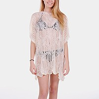WILD LEAF CROCHET SWIMWEAR COVER UP TUNIC TOP