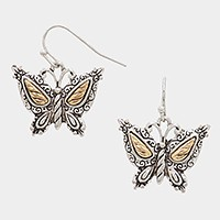 Two tone metal butterfly earrings