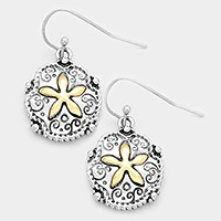 Two tone metal sand dollar earrings