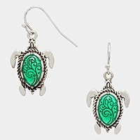 Metal enamel turtle earrings