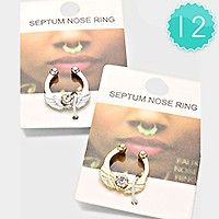 12 PCS - ASSORTED CRYSTAL ACCENTED NOSE RING
