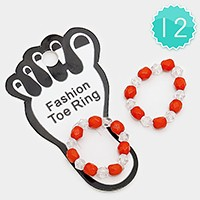 12 PCS - Beaded stretch toe rings
