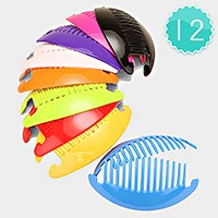 12 Sets - Solid color hair comb clips