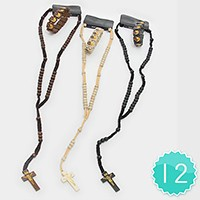 12 Sets - Wooden cross necklaces & bracelets