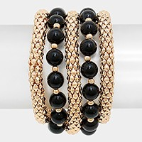 Multi-Layered Pearl Metal Mesh Stretch Bracelet