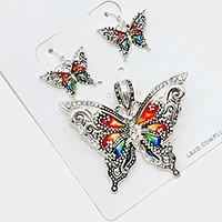 Colorful butterfly magnetic pendant set