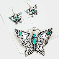 Turquoise metal butterfly magnetic pendant set