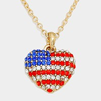 Crystal pave American flag heart pendant necklace