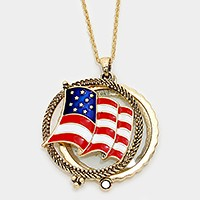 American flag magnifying glass pendant long necklace