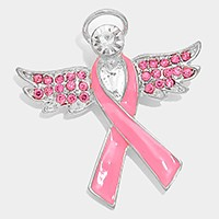 CRYSTAL ACCENTED PINK RIBBON ANGEL BROOCH PIN