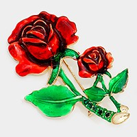CRYSTAL ACCENTED ENAMEL RED ROSE FLOWER BROOCH PIN