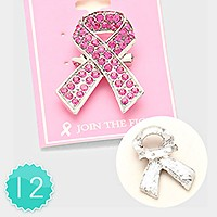 12 PCS - PAVE CRYSTAL PINK RIBBON BROOCH PINS
