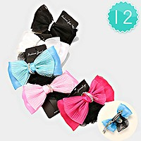 12 PCS - Bow lace hair barrettes