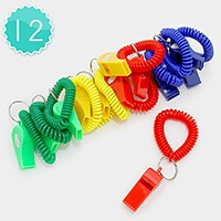 12 PCS - Solid color whistle coil keychains