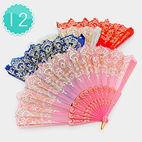 12 PCS - Metallic print folding fans